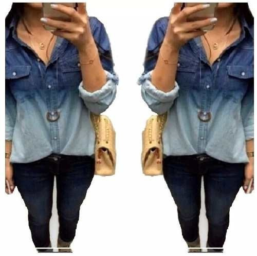 camisa blusa feminina jeans casual degrade manga longa