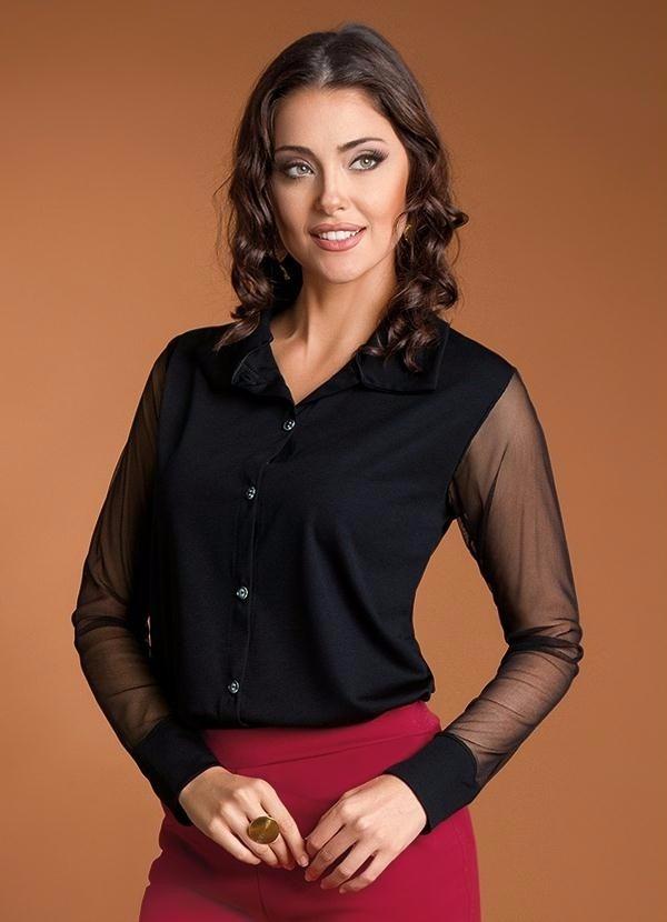 89ffe08098a75 camisa blusa feminina manga longa country tule preta social. Carregando  zoom.