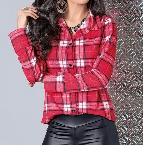 0274ad7cfee2f Camisa Blusa Feminina Manga Longa Xadrez Moda Country - R  69