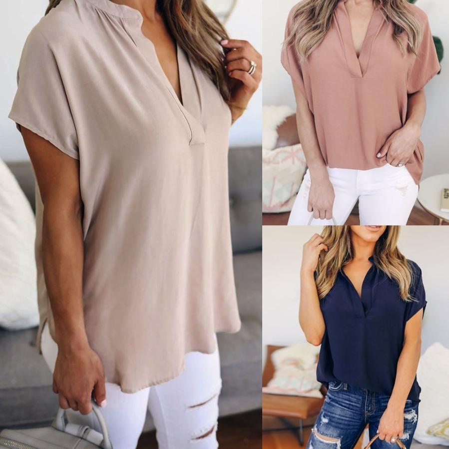 38ec01938 camisa blusa feminina social manga curta trabalho cores. Carregando zoom.