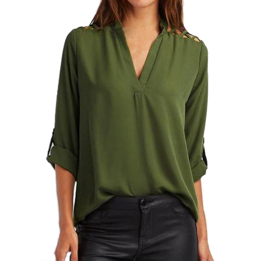 2594b63d0 camisa blusa feminina social manga longa 3 4 detalhes. Carregando zoom.