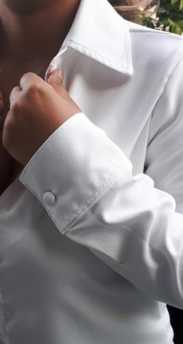 camisa blusa feminina social  manga longa crepe ref.15429