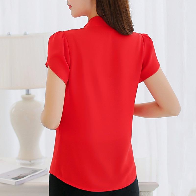 d91c3288f camisa blusa feminina social mangacurta crepe cores uniforme. Carregando  zoom.