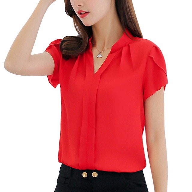5a4f96ab1 Camisa Blusa Feminina Social Mangacurta Crepe Cores Uniforme - R  69 ...
