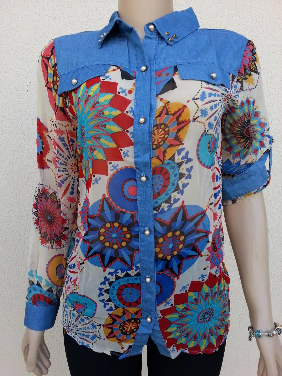cb5a75e77 camisa blusa feminina verão manga longa estampada floral. Carregando zoom.