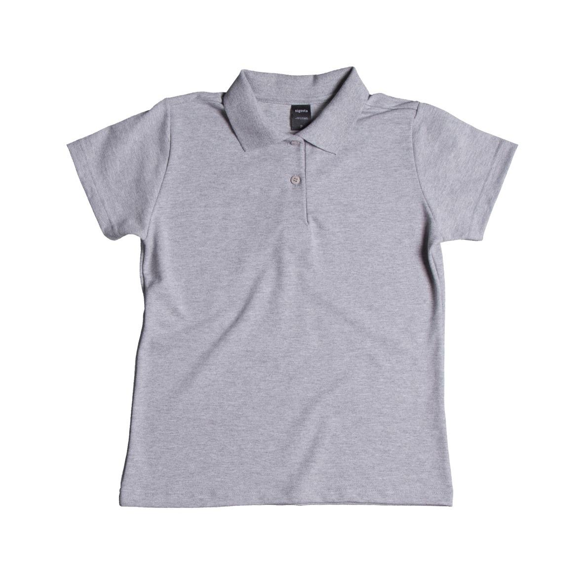 camisa blusa gola polo feminina baby look cinza mescla lisa. Carregando  zoom. 829848d2fc0