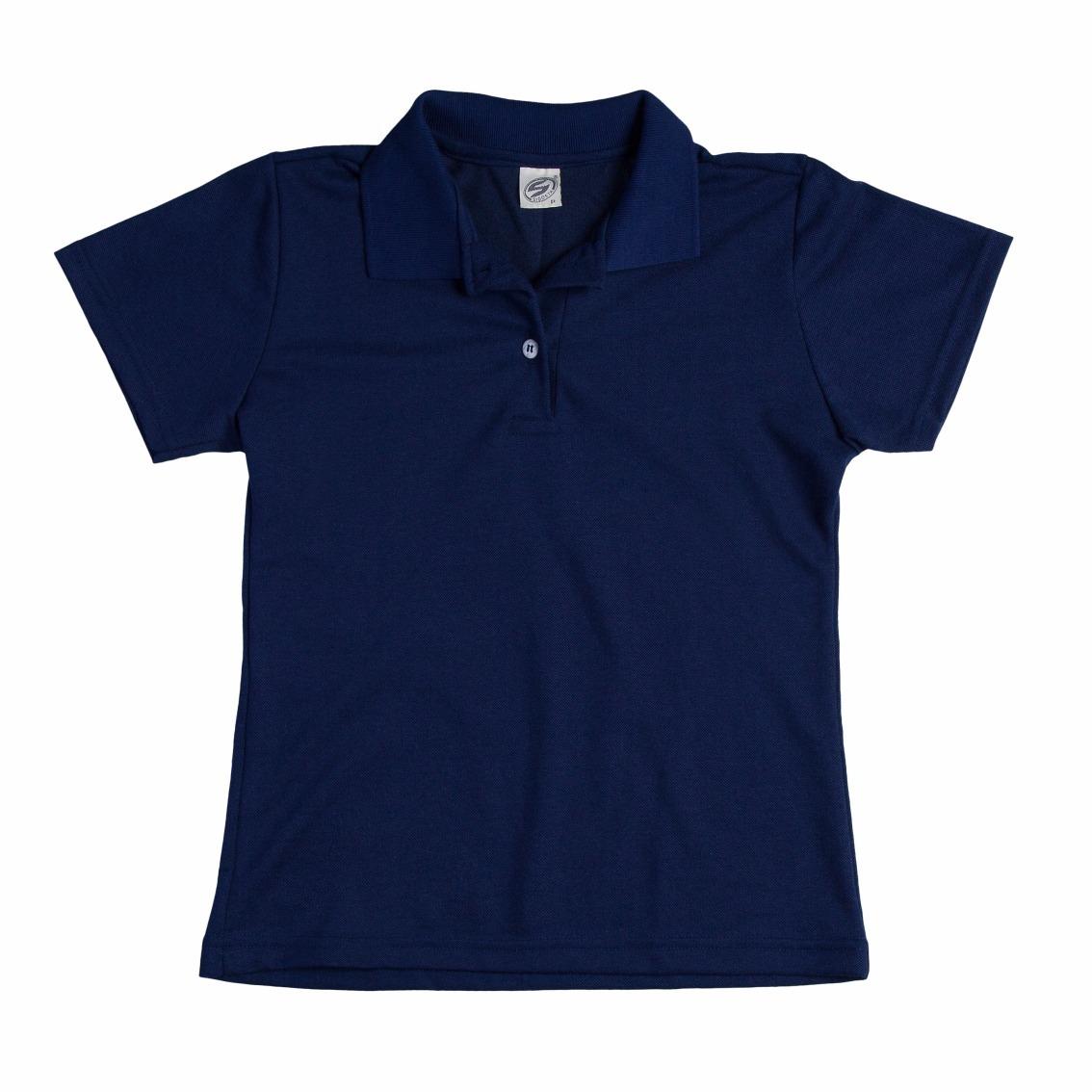 6e63835cd9631 camisa blusa gola polo malha feminina baby look azul marinho. Carregando  zoom.
