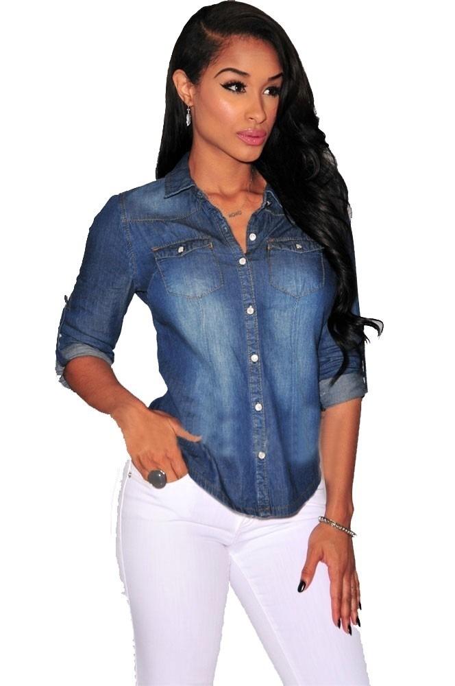 671752b2b5 camisa blusa jeans feminina manga longa - promoção especial. Carregando  zoom.