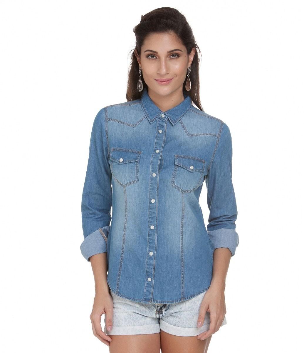 1d53970ece camisa blusa jeans feminina manga longa - pronta entrega. Carregando zoom.