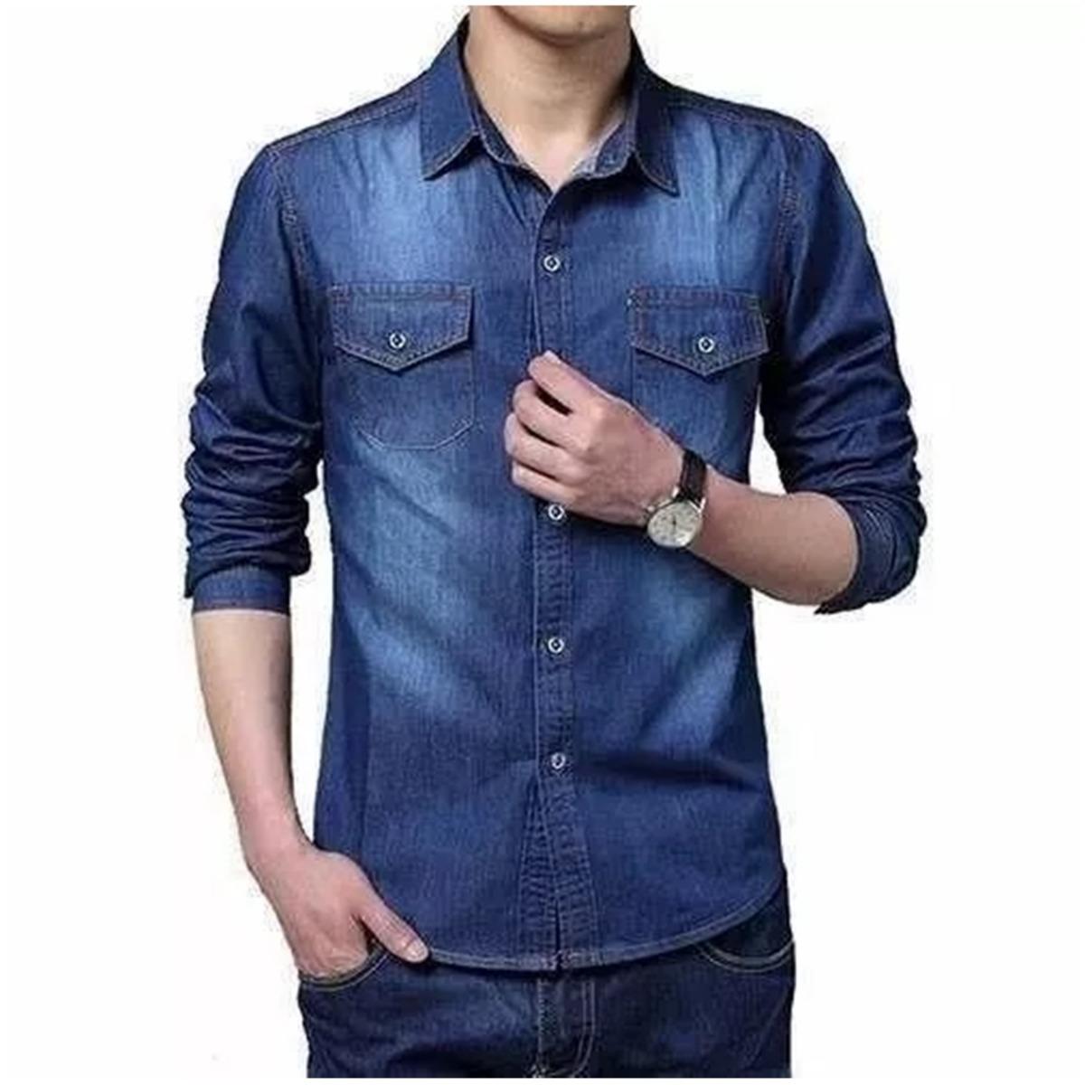 c27ec2ea11 camisa blusa jeans masculina leve inverno kit 2 peças oferta. Carregando  zoom.