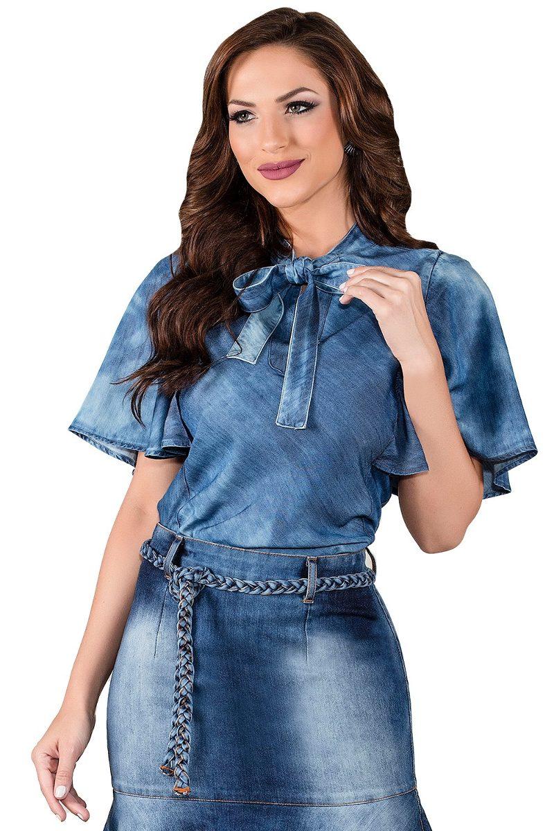 Camisa Blusa Jeans Titanium Gola Laço Moda Evangélica Azul