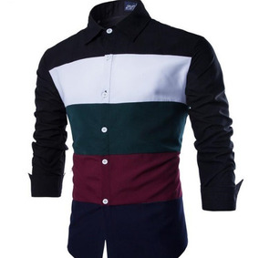 aed15db23 Camisa Blusa Masculina Xadrez Slim Fit Colorida Manga Longa