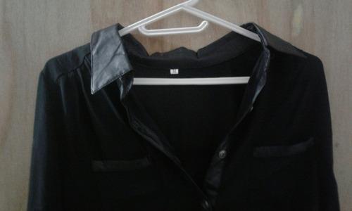 camisa blusa mujer de gasa negra con cuero elegante talle m