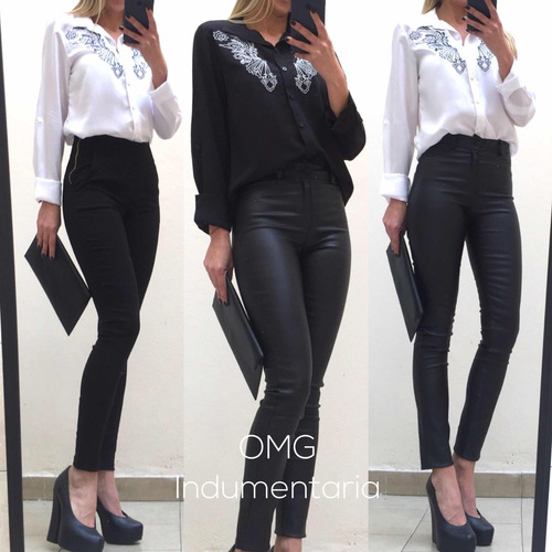 camisa blusa mujer fibrana bordada mangas largas importada