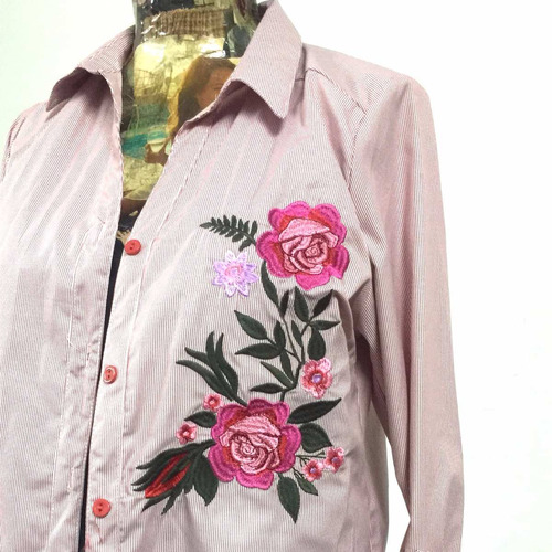 camisa blusa mujer importada rayada bordada casual o vestir