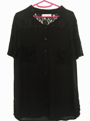 camisa blusa negra talle s con encaje dama manga corta