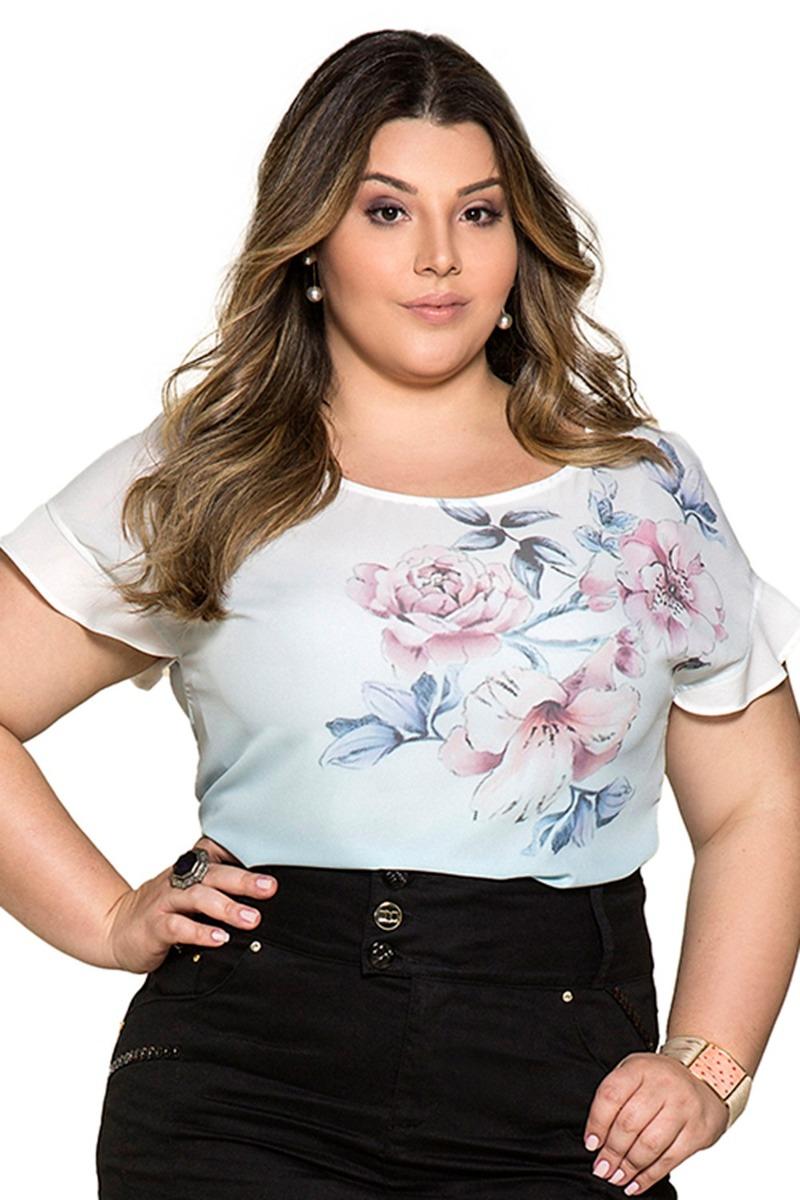 camisa blusa nítido crepe floral moda evangélica azul. Carregando zoom. 69db4fa7d783e