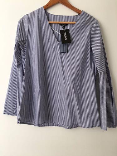 camisa blusa rayada azul y blanca mangas super oxford