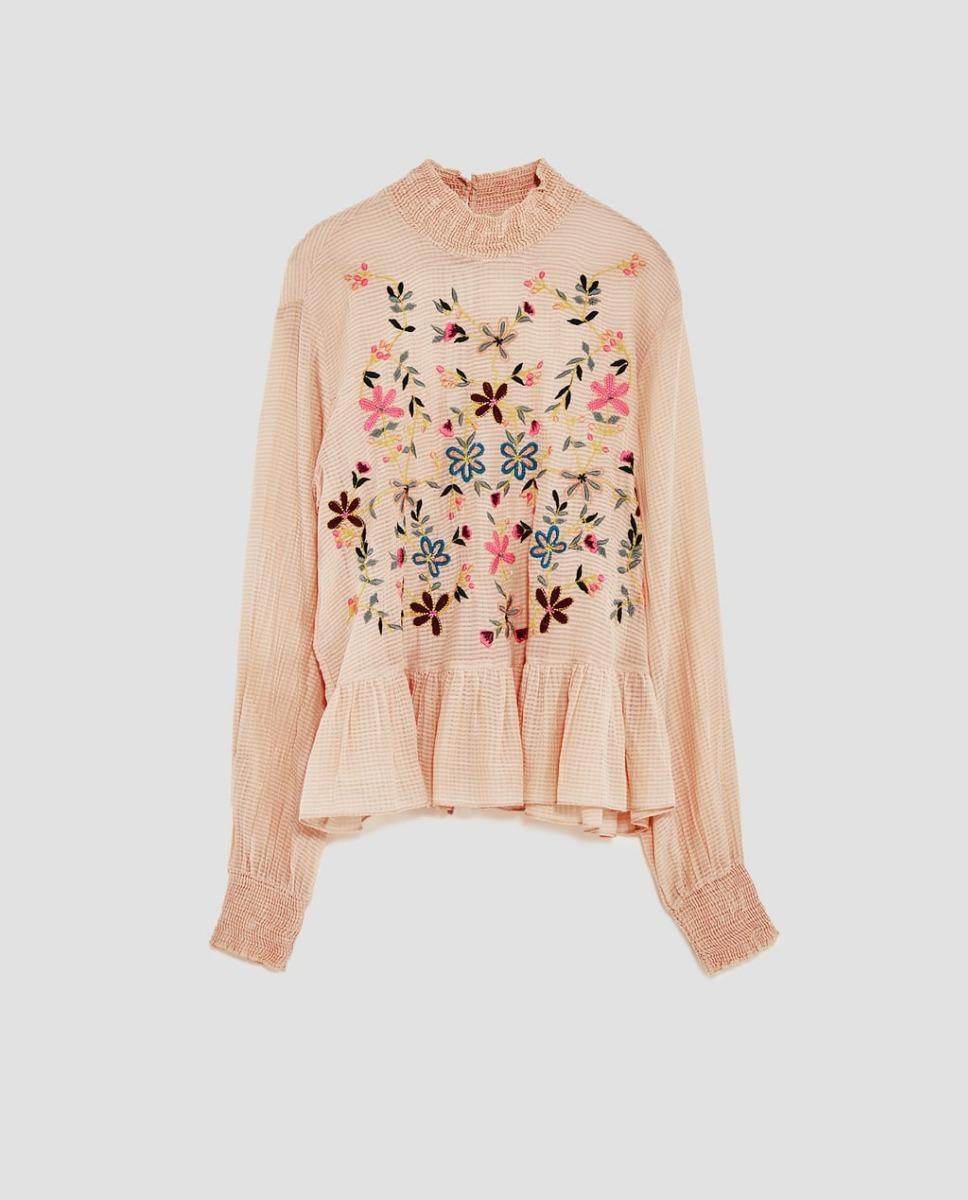 fa9bfde08 Camisa Blusa Zara Bordada Mujer Importada Nueva Temporada
