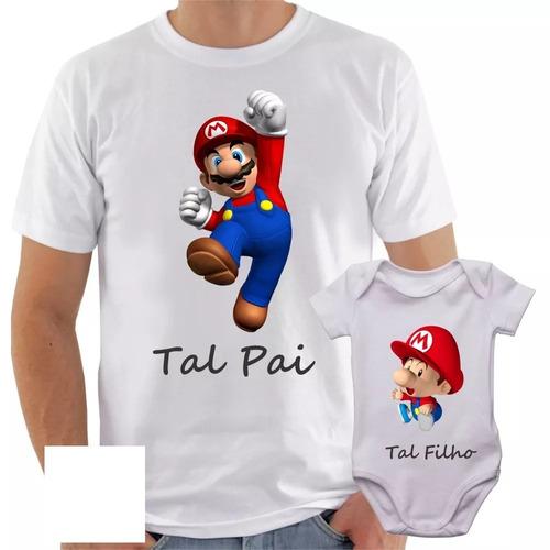 camisa + body super mario tal pai tal filho video game herói