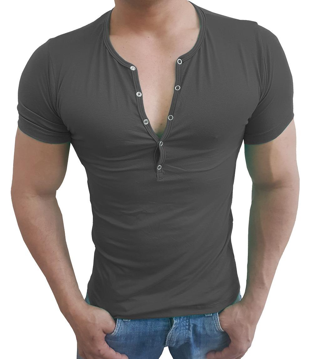 6c3a86e4e4 camisa botão de pressão masculina slim top viscolycra cinza. Carregando  zoom.