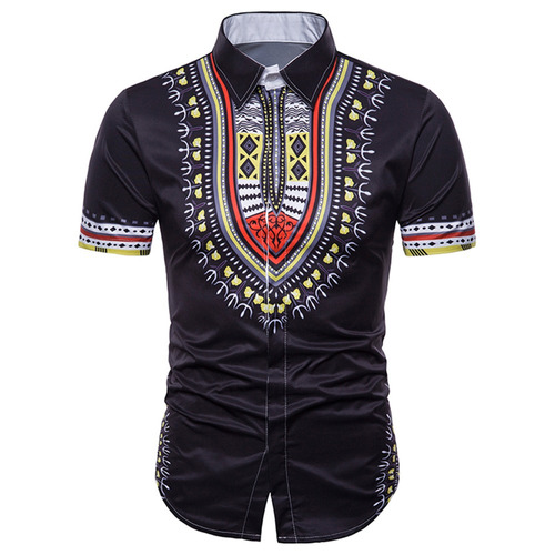 camisa botón oculto africano dashiki diseño creativo