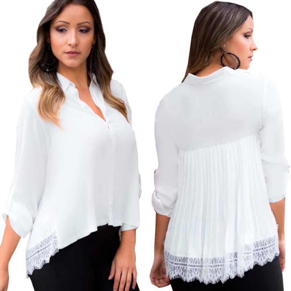 327e217fbc camisa branca feminina plissada com renda blusas femininas. Carregando zoom.