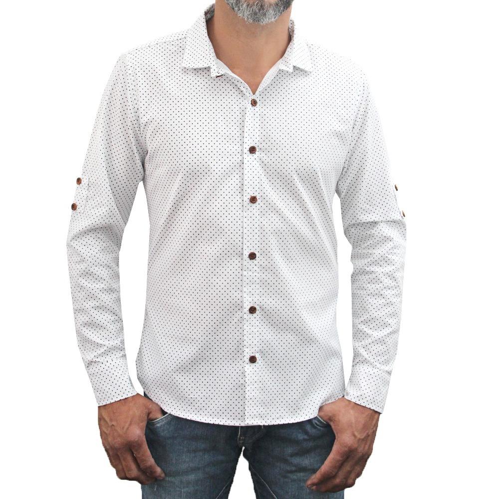 camisa branca masculina manga longa poá slin botões madeira. Carregando  zoom. 90cd9e94edf