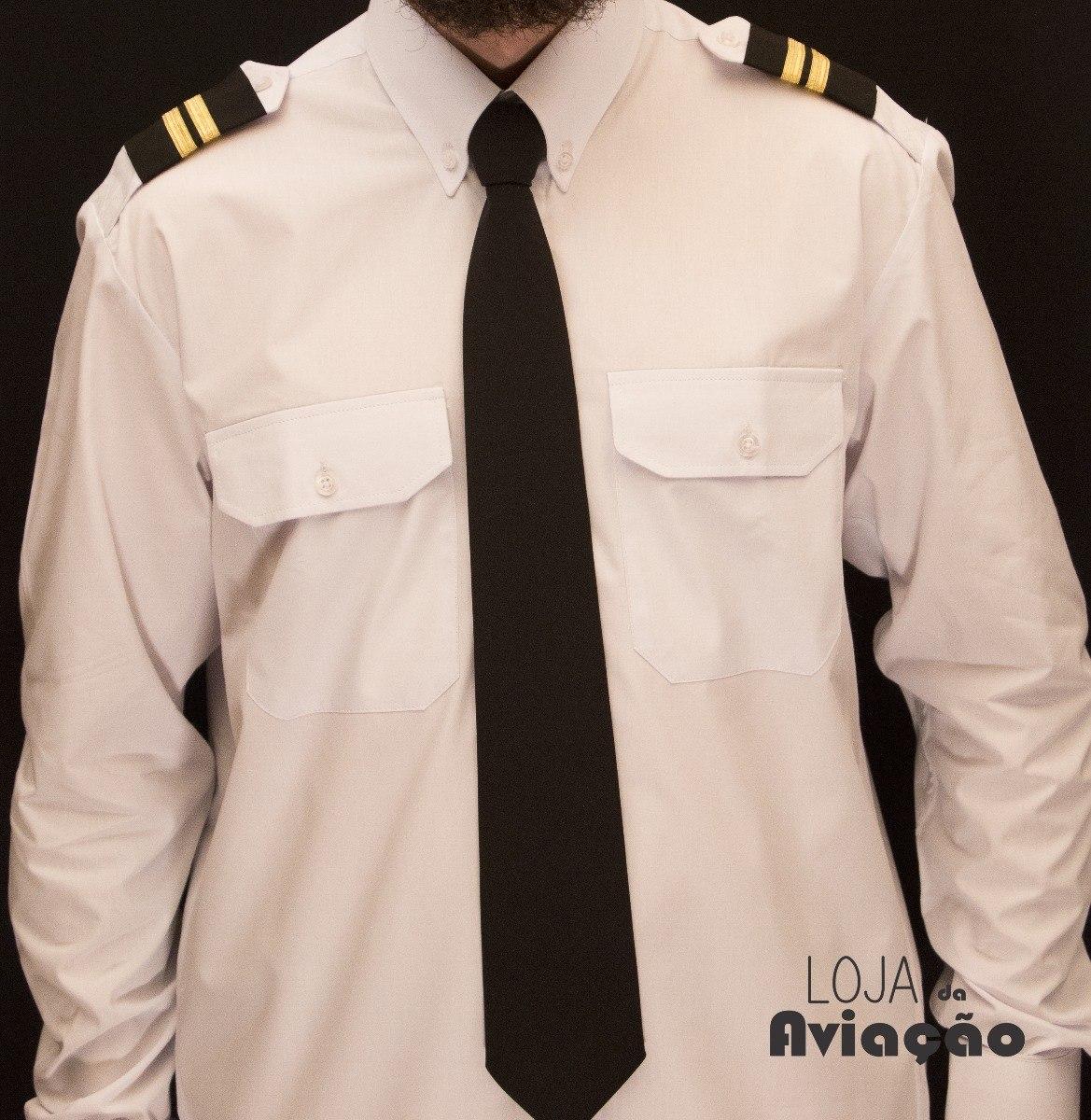48590ba5690 Camisa Branca Social Uniforme De Piloto Manga Longa - R  89