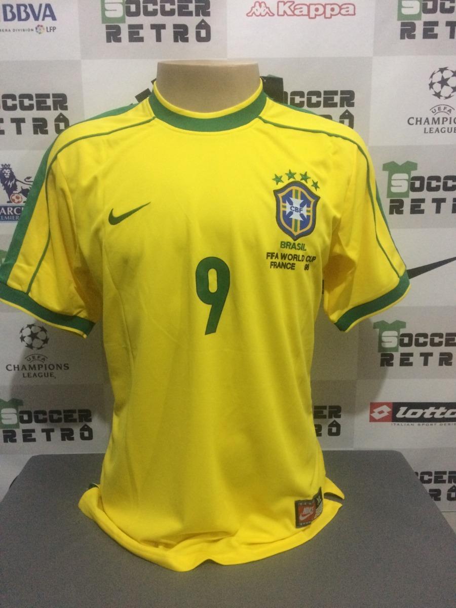 camisa brasil copa do mundo 1998 ronaldo 9. Carregando zoom. 48e4aa216dd29