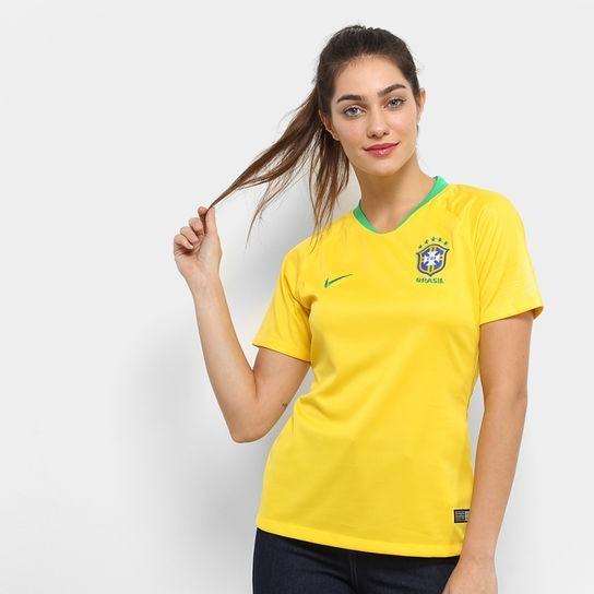 f5f22b399 Camisa Brasil Feminina - Copa Do Mundo 2018 - Frete Grátis - R  99 ...