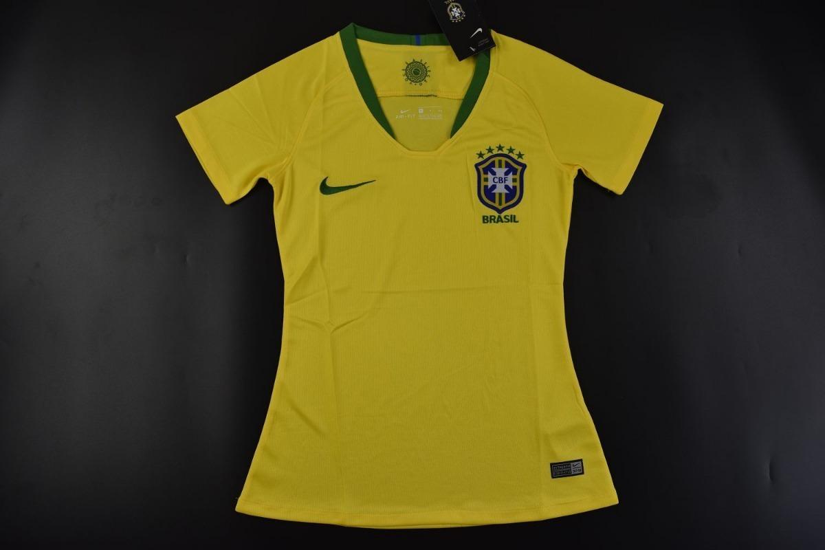 camisa brasil feminina nike copa 2018 amarela - frete gratis. Carregando  zoom. 11506883ead17