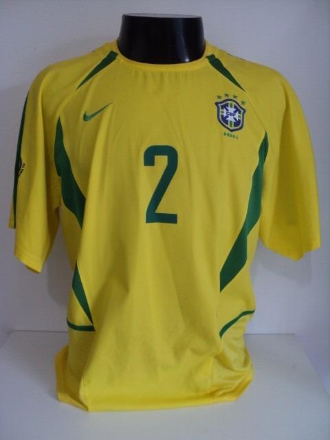 72ec1c7943 Camisa Brasil Home 02-03 Cafu 2 Patch Wc 2002 Importada - R  300