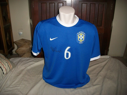 camisa brasil nike copa 2006 autografada kleber de jogo nova