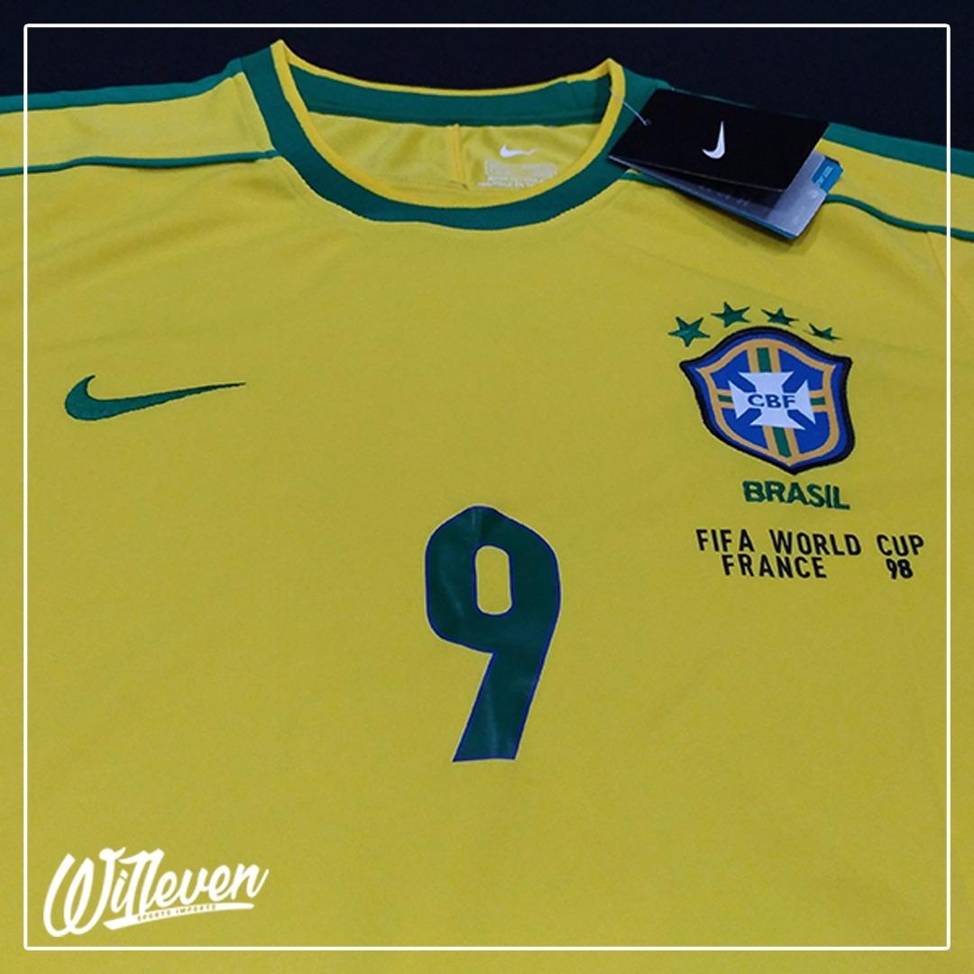 camisa brasil nike titular retro copa 98  9 ronaldo. Carregando zoom. 648ebb607c9ea
