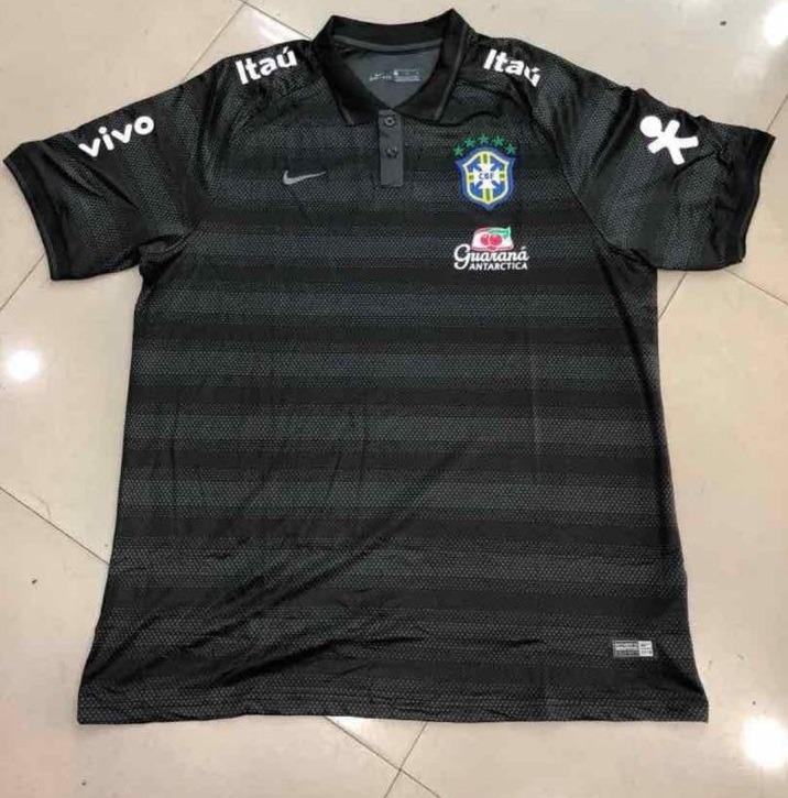 Camisa Brasil Polo Nike Preta Listrada Oficial Treino 2018 - R  200 ... a4805f2e5295d