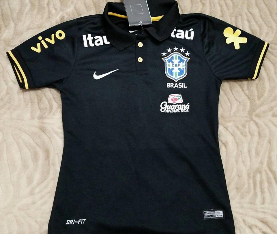 camisa brasil preta polo feminina 2014 baby look. Carregando zoom. d51d8f93d0964