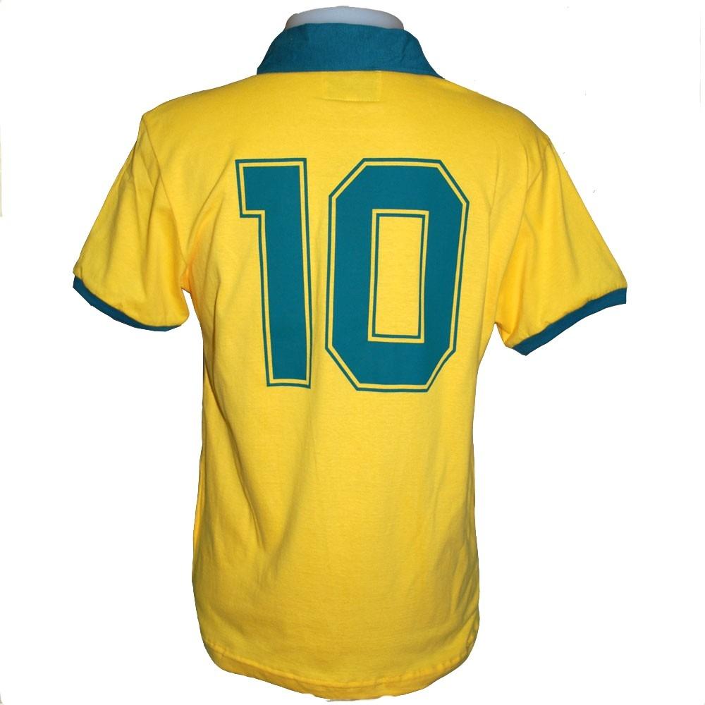 Camisa Retro Brasil 1986 Seleção Brasileira Alusiva Copa 86 - R  79 ... 4ca6ad57387ce