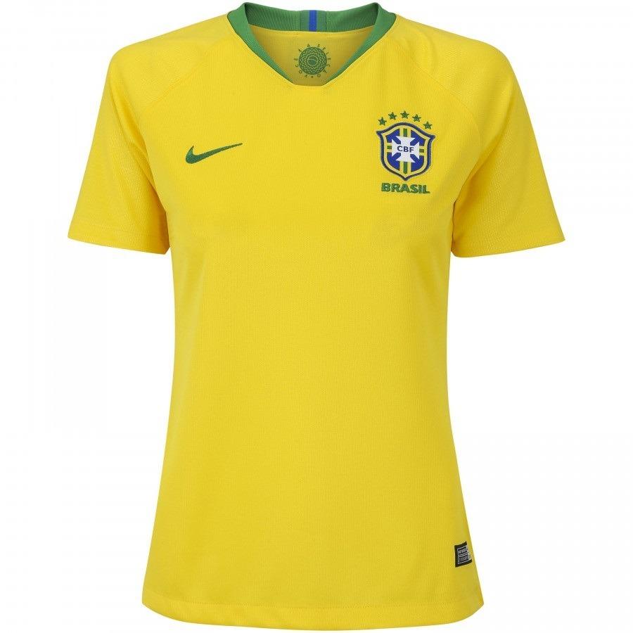 camisa brasil - uniforme 1 feminina - 2018 - frete grátis. Carregando zoom. e1722b838e66d
