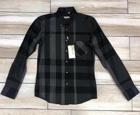 96bf2958 Camisa Burberry De Vestir Manga Larga/ Negro Y Gris