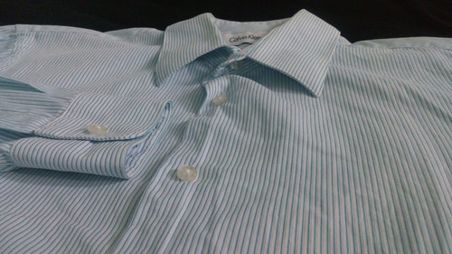camisa caballero de vestir calvin klein azul rayada / s