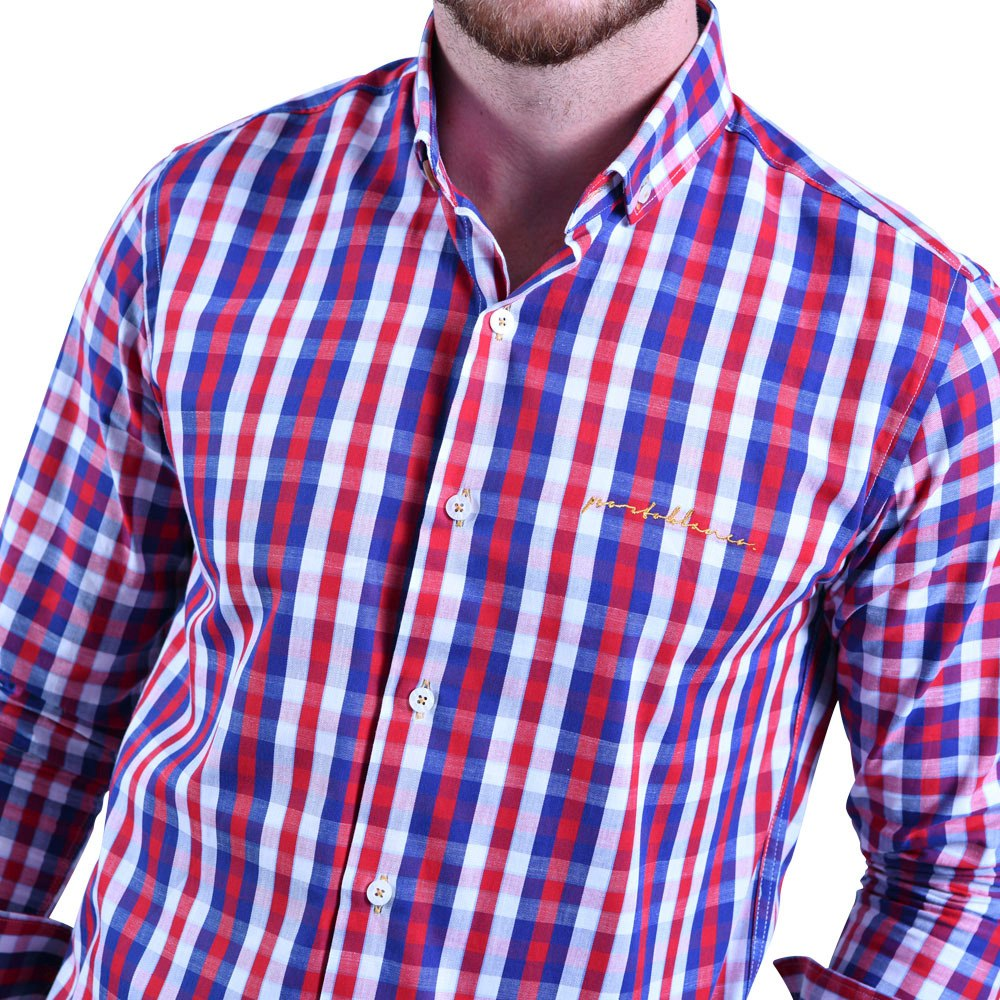 d01c0922f9344 Camisa Caballero Porto Blanco 100% Algodón Roja Cuadro C-684 ...