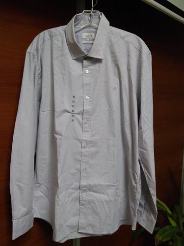 camisa  cacharel rallas finas gris xl 100%algodón