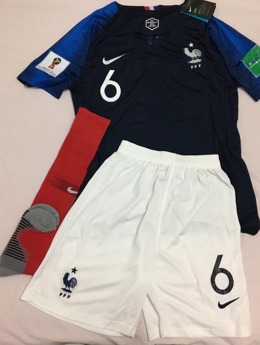 b9fbfc9726 Camisa+calção+meião França copa Do Mundo pogba adulto - R  155