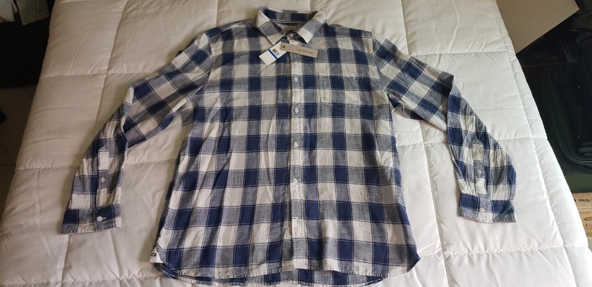 b49bbd011e8fd camisa calvin klein caballero a cuadros azul blanc talla xl. Cargando zoom.