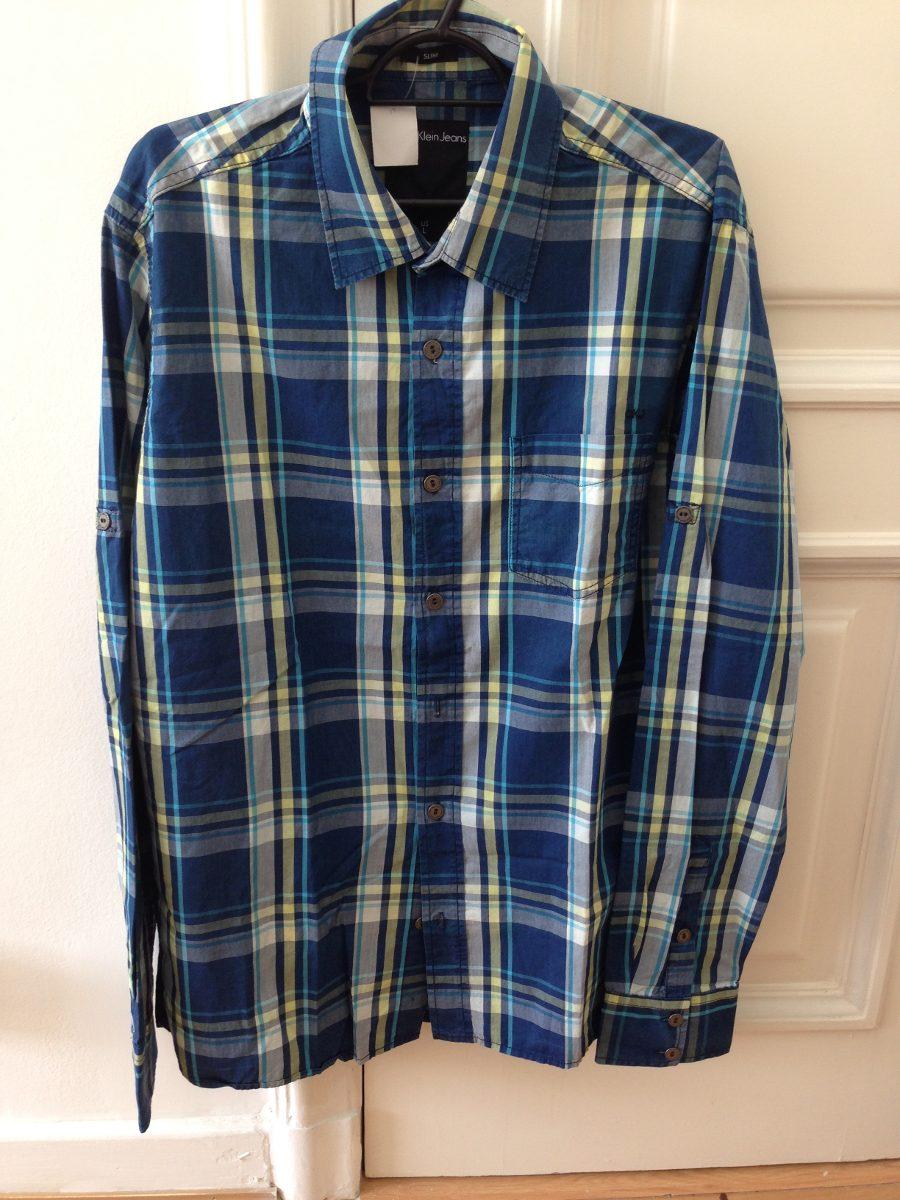 camisa calvin klein ckj masculina xadrez. azul, amarelo... Carregando zoom. 480b400a04