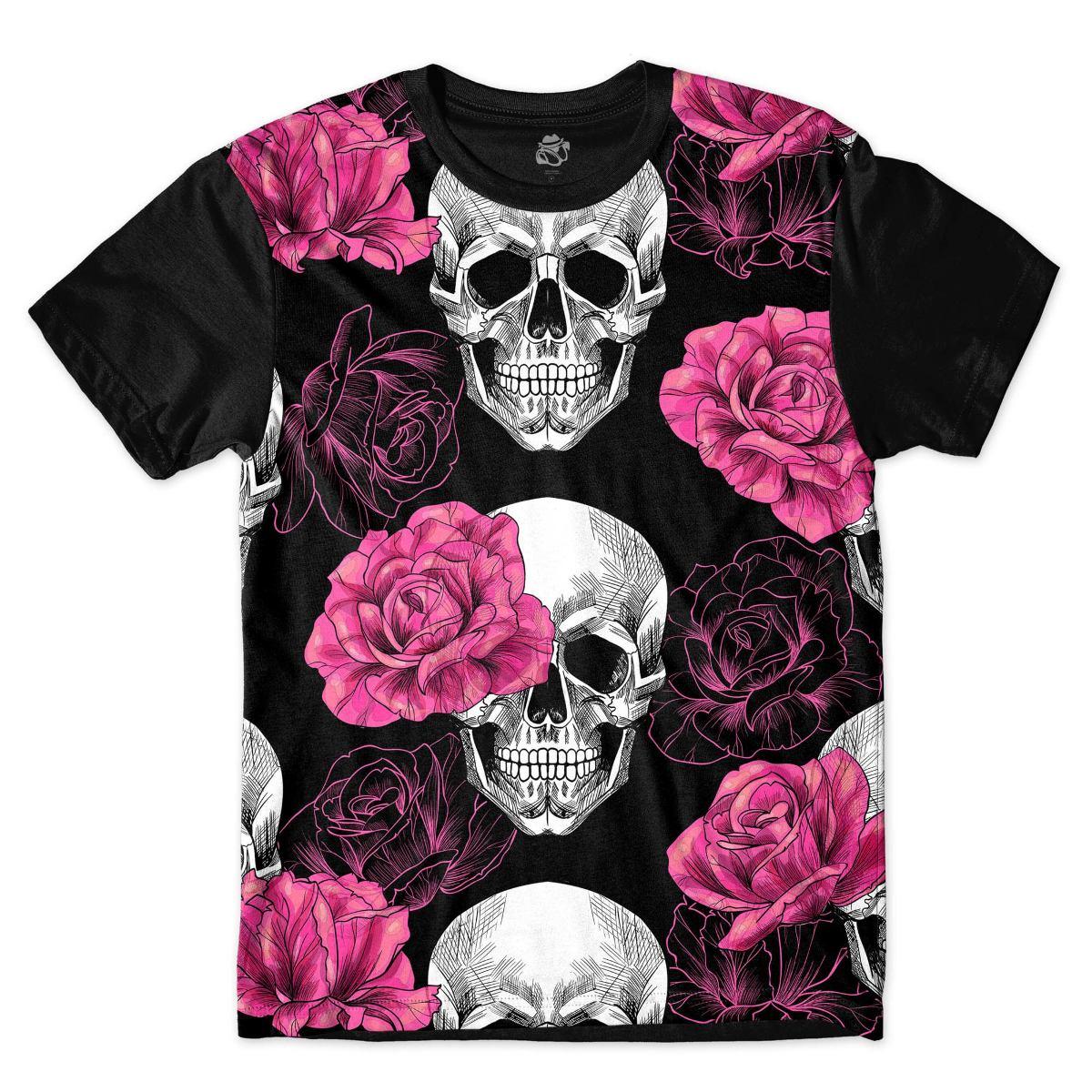 camisa camiseta blusa caveira rosas rock flores skull. Carregando zoom. 001c909b63e