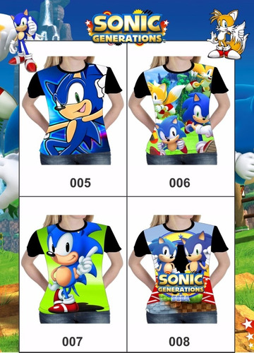 camisa camiseta blusa games sonic sega - baby look feminina
