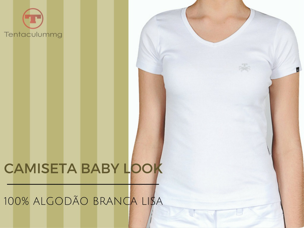 586436fc1f camisa camiseta blusa lisa branca feminina baby look. Carregando zoom.