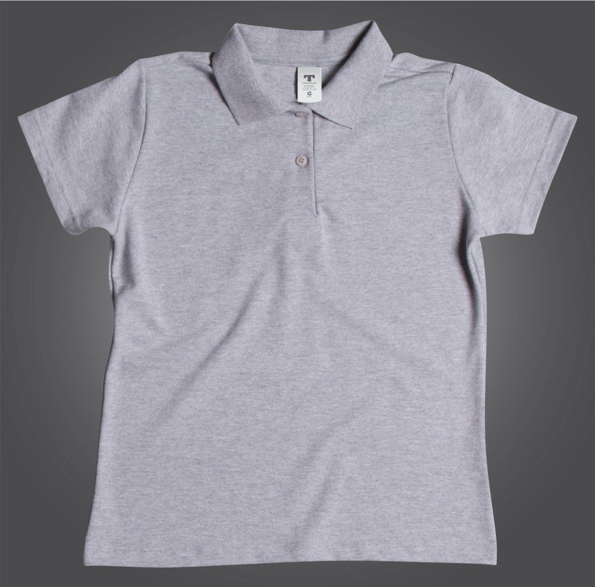 f64e0c6148f98 camisa camiseta blusa polo cinza mescla botão clássica lisa. Carregando  zoom.
